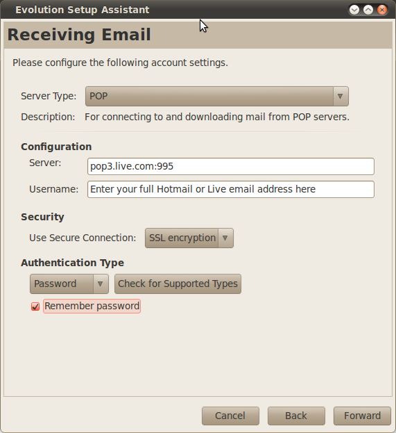 Ubuntu 10 4 Lucid – Configuring Evolution To Connect to