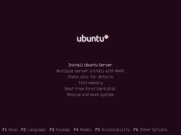 Press Enter to install Ubuntu Server