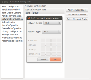 Network Configuration: Add network device eth0 and set to DHCP
