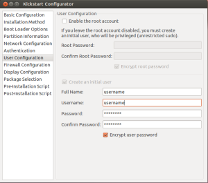 User Configuration: Provide username and password