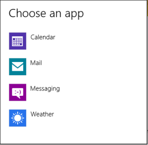 win8 Lock Screen Choose App