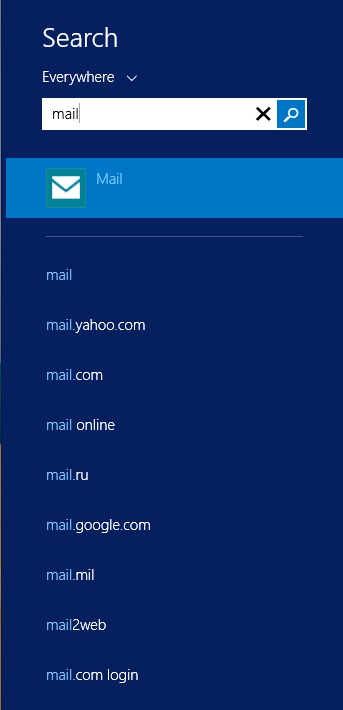 Windows 8.1 Preview - Local and Bing search results