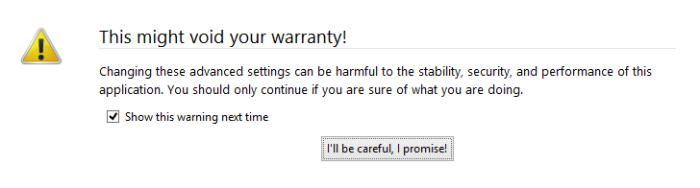 aboutconfig - Void Warranty